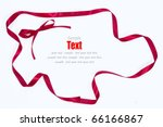 shiny red ribbon bow on white... | Shutterstock . vector #66166867