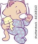 Stock vector sleeping kitten in polka dot pajamas full color 66168163