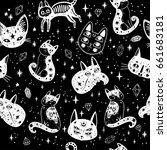 witch's cat seamless pattern.... | Shutterstock .eps vector #661683181