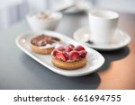 individual strawberry flan with ... | Shutterstock . vector #661694755