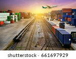 stacker hold a container box... | Shutterstock . vector #661697929