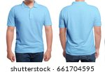 Small photo of Blue polo t-shirt mock up, front and back view, isolated. Male model wear plain blue shirt mockup. Polo shirt design template. Blank tees for print