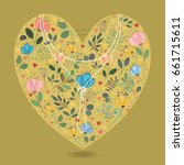 yellow heart with folk floral... | Shutterstock .eps vector #661715611
