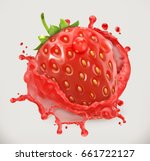 strawberry juice. fresh fruit ... | Shutterstock .eps vector #661722127