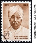 Small photo of INDIA - CIRCA 1965: A stamp printed in India issued for the birth centenary of Lala Lajpat Rai shows social reformer Lala Lajpat Rai, circa 1965.