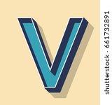 3d letter v retro vector text... | Shutterstock .eps vector #661732891