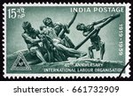 india   circa 1959  a stamp... | Shutterstock . vector #661732909