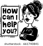 comic woman says how can i help ... | Shutterstock .eps vector #661740841