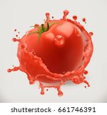 tomato juice. fresh vegetable ... | Shutterstock .eps vector #661746391
