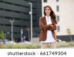 young woman with nice hair... | Shutterstock . vector #661749304