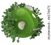 miniature golf planet concept with nice grass course, club house and trees. isolated on white - stock photo