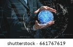 futuristic businessman in suit... | Shutterstock . vector #661767619