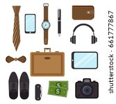 men's casual outfits accessory... | Shutterstock .eps vector #661777867