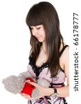 girl with toy teddy - stock photo