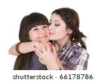 two girls embrace - stock photo