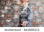 businessman in safety helmet... | Shutterstock . vector #661800211