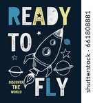 ready to fly slogan graphic... | Shutterstock .eps vector #661808881
