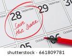 save the date written on a... | Shutterstock . vector #661809781