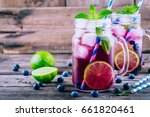 Blueberry Ice Mojito With Lime...