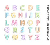 alphabet with shadow isolated... | Shutterstock . vector #661839361