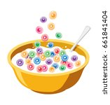vector yellow bowl with cereals ... | Shutterstock .eps vector #661841404