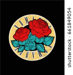 rock print with red roses and... | Shutterstock .eps vector #661849054