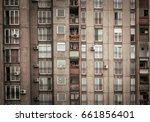 residence block building with...   Shutterstock . vector #661856401