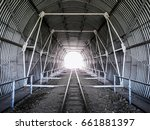 tunnel on the railway tracks.... | Shutterstock . vector #661881397