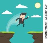 businessman jump through the... | Shutterstock .eps vector #661884169