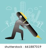 city sign off | Shutterstock .eps vector #661887019