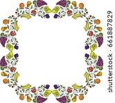 beautiful frame of fruits.... | Shutterstock .eps vector #661887829