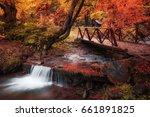 bridge over stream in autumn... | Shutterstock . vector #661891825