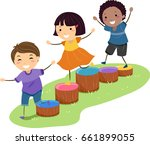 illustration of stickman kids... | Shutterstock .eps vector #661899055
