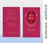 indian wedding invitation card...   Shutterstock .eps vector #661901119