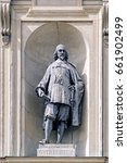 Small photo of STOCKHOLM, SWEDEN - May 07, 2017: Bronze statue of Georg Stiernhielm, famous Swedish linguist and mathematician, by Johan Axel Wetterlund (1900) on southern facade of Royal Palace in Gamla Stan.