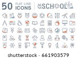 set line icons  sign and... | Shutterstock . vector #661903579