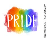 pride   word on spectrum flag... | Shutterstock .eps vector #661905739