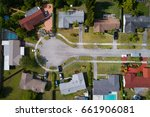 Small photo of Stock aerial image of a residential neighborhood cul-de-sac