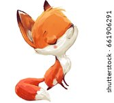 Stock photo cute watercolor cartoon fox on white background 661906291