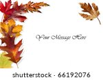 Fall leaves framing a message area - stock photo
