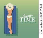 Summer Time. Girl Sunbathing O...