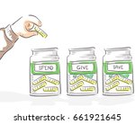 Illustration of a Hand of Kid Placing a Coin in Either his Spend, Give and Save Jars