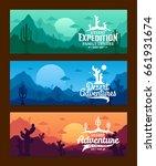 vector desert horizontal banner ... | Shutterstock .eps vector #661931674