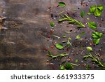 mixture of herbs and seasonings ... | Shutterstock . vector #661933375