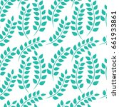 vector turquoise leaves pattern.... | Shutterstock .eps vector #661933861