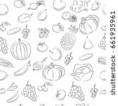 vegetables and fruit  doodles ... | Shutterstock .eps vector #661935961