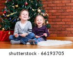 brother and sister sitting near ... | Shutterstock . vector #66193705