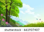 beautiful forest with... | Shutterstock .eps vector #661937407