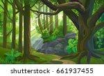 the path across a dense jungle... | Shutterstock .eps vector #661937455