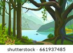 person rowing a boat in a calm... | Shutterstock .eps vector #661937485